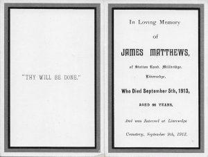 Matthews funeral card